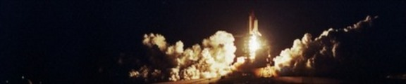 Thumbnail Space Shuttle Atlantis liftoff at night, web banner photo