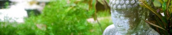 Buddha statue in a peaceful garden, web banner photo,