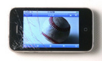Thumbnail Smashed smart phone with baseball on screen