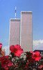 World Trade Center, New York City with flowers,1999